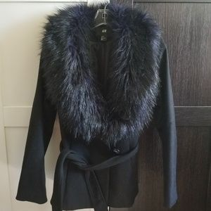 H&M Black & Navy Fur Trim Coat